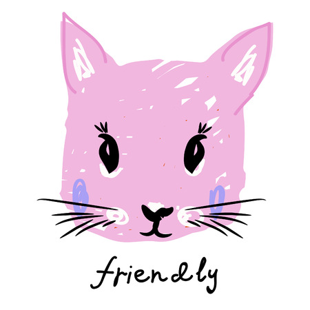 pink kitty face in kids style with text friendly for your designer