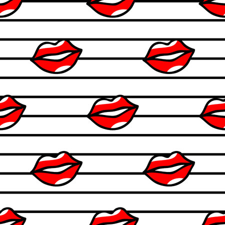 red lips pattern in cartoon style on striped background