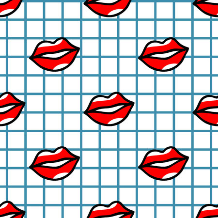 red lips pattern in cartoon style on checked background Ilustração