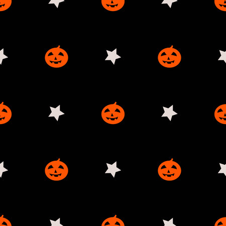 cute pumpkin halloween pattern with stars on black background for your design
