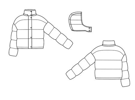 sport winter puff jacket technical sketch back and front view Иллюстрация