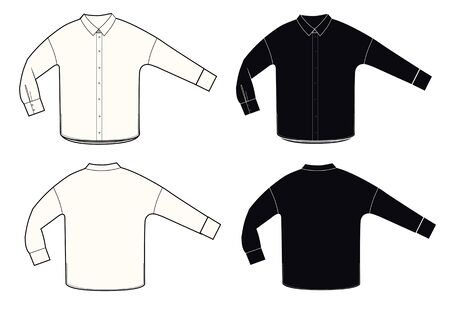 Shirt technical sketch set. Black and white color, front and back sides. Unisex shirt template.Blouse sketch.