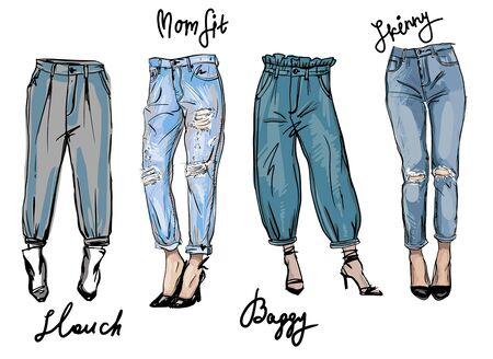 Vector sketch of jeans fashion fit. Trendy ashion illustration, fashion sketch.
