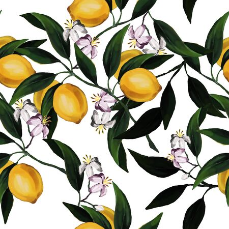 Seamless hand drawn citrus raster pattern on white background. Hand drawn illustration with lemons and leaves