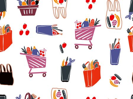 Shopping bags and baskets with grocery flat vector pattern.Grocery purchases, paper and plastic packages, turtle bags with products. Natural food, organic fruits and vegetable. Banque d'images