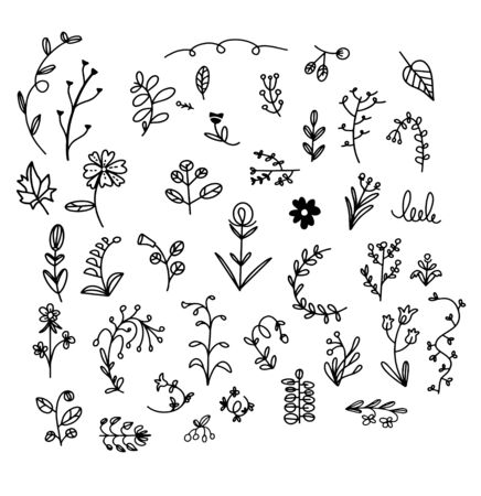 Simple vector plants pattern on white background. Wallpaper with flowers. Perfect for textile, fabric, wallpaper, wrapping paper and etc. Banque d'images
