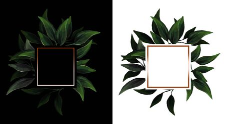 Set of frames with leaves with light gold squared frame on black and white backgrounds. Branch with green leaves. Perfect for wedding invitation.