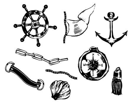 Hand drawn vector set with anchors, compass, chains, rope, seashells. Perfect for making pattern, frame, border in nautical style.