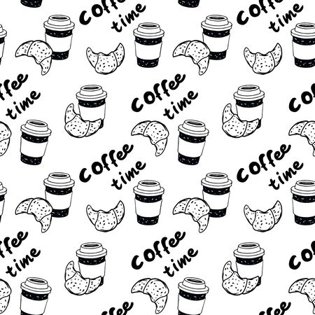 Vector black and white illustration croissant and cup of coffee with text coffee time. Perfect for sticker, poster, postcard. Decoration with bakery shop.  イラスト・ベクター素材