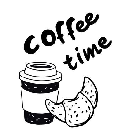 Vector black and white illustration croissant and cup of coffee with text coffee time. Perfect for sticker, poster, postcard. Decoration with bakery shop.