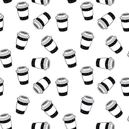 Vector seamless pattern with coffee cup on white background for bakery shop, cafe. Perfect for textile, wrapping, wallpaper and etc.