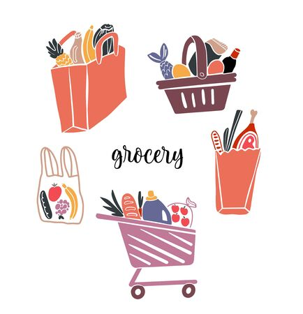 Shopping bags and baskets with grocery flat vector illustrations set. Grocery purchases, paper and plastic packages, turtle bags with products. Natural food, organic fruits and vegetable.