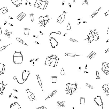 Vector hand drawn healthcare and medicine doodle seamless pattern. Medical tools backgrond. Isolated vector therapy and treatment symbols. simple style medical design elements.