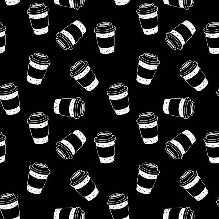 Vector seamless pattern with coffee cup on black background for bakery shop, cafe. Perfect for textile, wrapping, wallpaper and etc. Illustration
