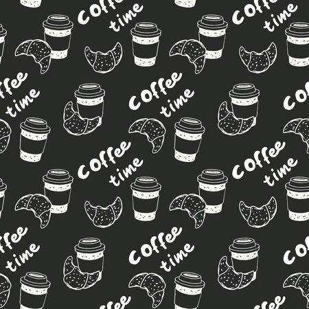 Vector seamless pattern with coffee cup and croissant and text coffee time in black and white colors.