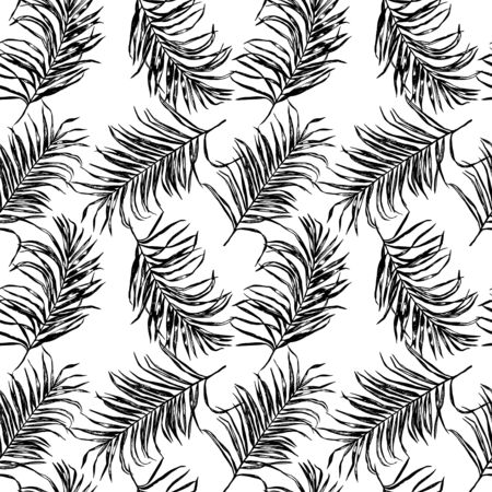 Black and white tropical palm tree leaves seamless pattern. Vector design for cards, web, backgrounds, textile and natural product.