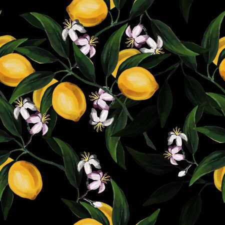 Seamless hand drawn citrus raster pattern on black background. Hand drawn illustration with lemons and leaves Banque d'images