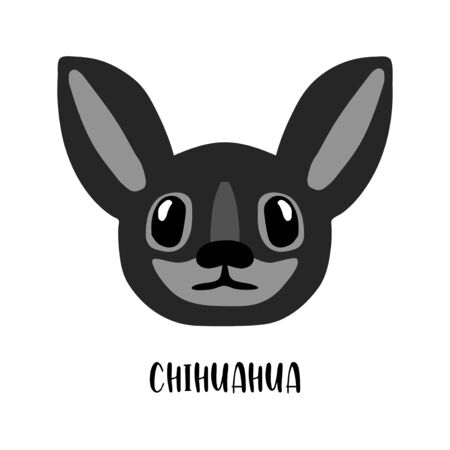 Cute cartoon dog face image. Vector illustration of chihuahua on white. Popular breed of dogs.