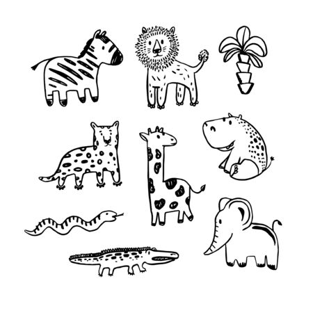 Vector african animals set  . Coloring illustration. Collection of cute animals in black and white.  Perfect for kids t-shirt print Illustration