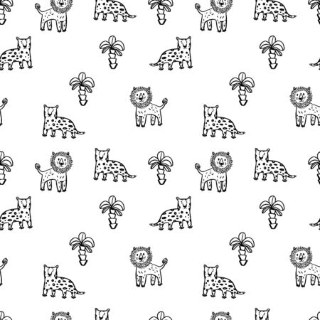 Vector cute simple leopard and leo line art pattern in black and  white colors. kids wallpaper. Perfect for textile