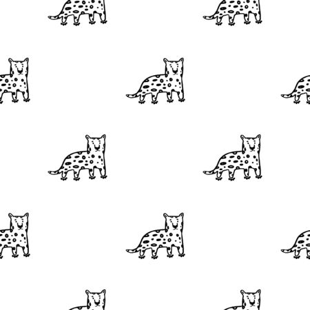 Vector cute simple leopard line art pattern in black and  white colors. kids wallpaper. Perfect for textile