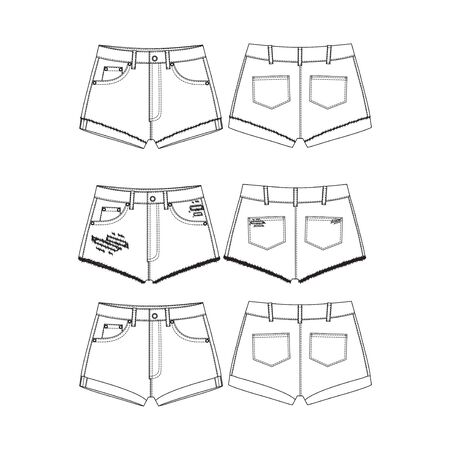 Set of short Pants, Flat Sketch Template, vector, apparel template. Technical sketch of shorts. Shorts with holes. Vettoriali