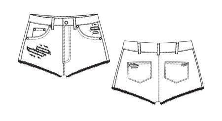 Short Pants, Flat Sketch Template, vector, apparel template. Technical sketch of shorts.