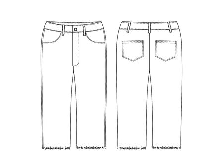 Short Pants, Flat Sketch Template, vector, apparel template. Technical sketch of shorts. Fashionable jeans Bicycle shorts technical sketch.