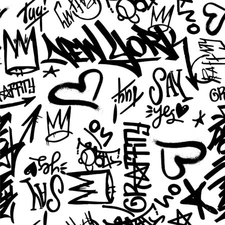 Vector graffity tags seamless pattern on white background. Modern graphic wallpaper Banque d'images - 146684974