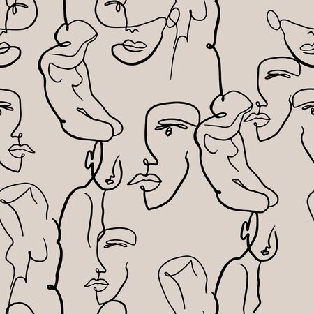 Abstract woman portraits and figures pattern. Female face one line drawing on monochrome background. Women  illustration for fashion design. Artistic background. Banque d'images - 146684978