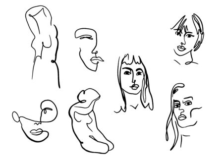 Abstract woman portraits and body. Female faces and bodies one line drawing. Sketch of young women. Illustration for fashion design. Artistic vector illustration. Illustration