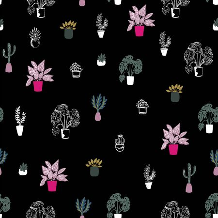 Vector seamless pattern of house plants in pots on black background, hand drawing in flat style . Colorful botanical background. Good for textile, wrapping, web, posters and etc.