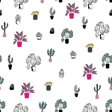 Vector seamless pattern of house plants in pots on white background, hand drawing in flat style . Colorful botanical background. Good for textile, wrapping, web, posters and etc. Illustration