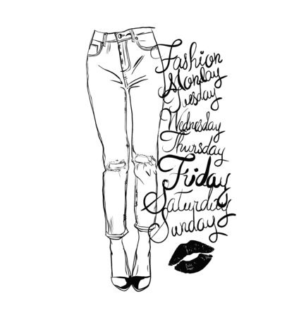 Vector black and white fashion illustration of femail legs in skinny jeans with holes. Perfect for poster, t shirt print, postcard, cover and etc.