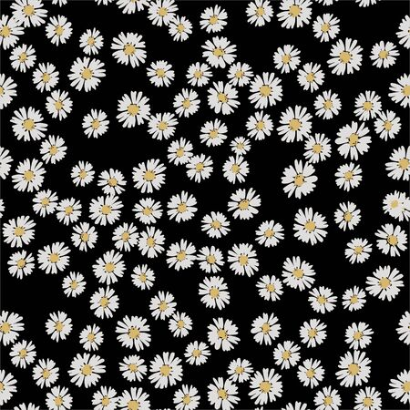 Vector flower pattern. Simple chamomile on black background. Perfect for textile. Popular pattern for textile Banque d'images - 146685002