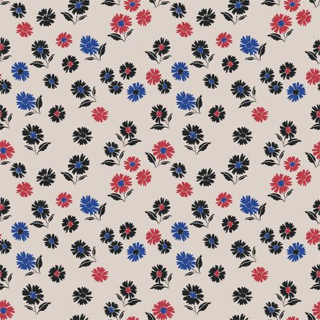 Vector flower pattern.Simple floral background. Perfect for textile. Beige tiny flowers wallpaper