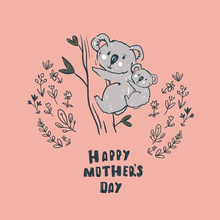 Happy mother`s day card with flowers. Postcard with flower pattern. Иллюстрация