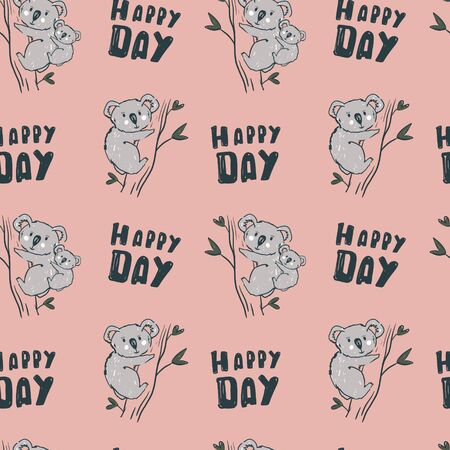 Koala bear seamless pettern on pink background. Kids wallpaper. Perfect for textile. Illustration