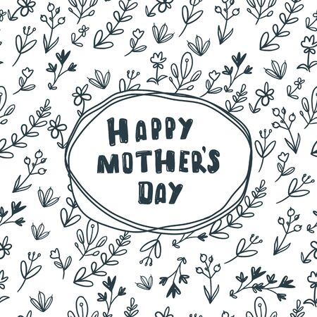 Happy mother`s day card with flowers. Postcard with flower pattern on white background Illustration