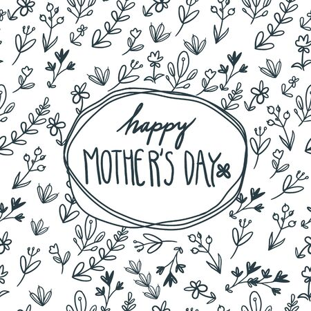 Happy mother`s day card with flowers. Postcard with flower pattern on white background. Illustration