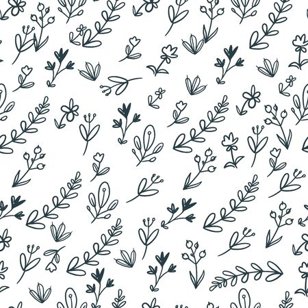 Simple vector plants pattern on white background. Wallpaper with flowers. Perfect for textile, fabric, wallpaper, wrapping paper and etc. Illustration