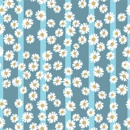 Vector flower pattern. Simple chamomile on striped background. Perfect for textile. Popular pattern for textile Banque d'images - 146685010