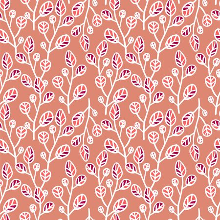 Branch with leaves  vector seamless pattern. perfect for textile, cover, wallpaper and etc. Banque d'images