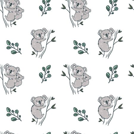Koala bear seamless pettern on pink background. Kids wallpaper. Perfect for textile. Banque d'images