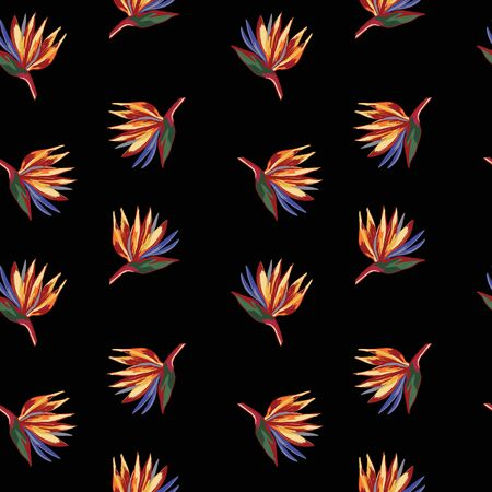 Strelitzia reginae crane flower pattern on black background. Wallpaper with tropical flowers. Perfect for textile, wrapping.