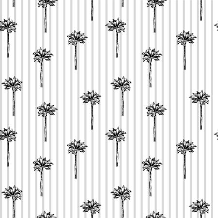 simple graphic palm pattern on  striped and white background. Graphic tropical wallpaper. Perfect for textile, wrapping and etc.