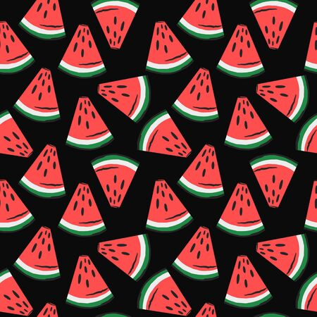 watermelon slices pattern. fruit background. Summer textile print on dark background.