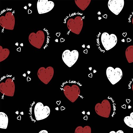 Cute hearts pattern  on black background for textile, wrapping. Valentine wallpaper.