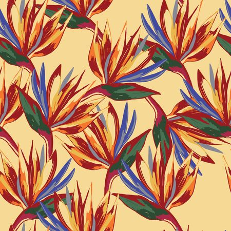 Strelitzia reginae crane flower pattern on lemon background. Wallpaper composition with tropical flowers. Perfect for textile, wrapping. Illustration