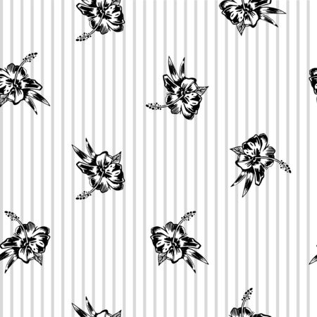 Hibiscus pattern in black and white colors on striped background. Wallpaper with tropical flower Illustration